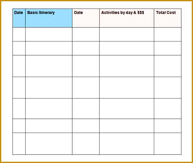 Sample Trip Itinerary Template Word 533632