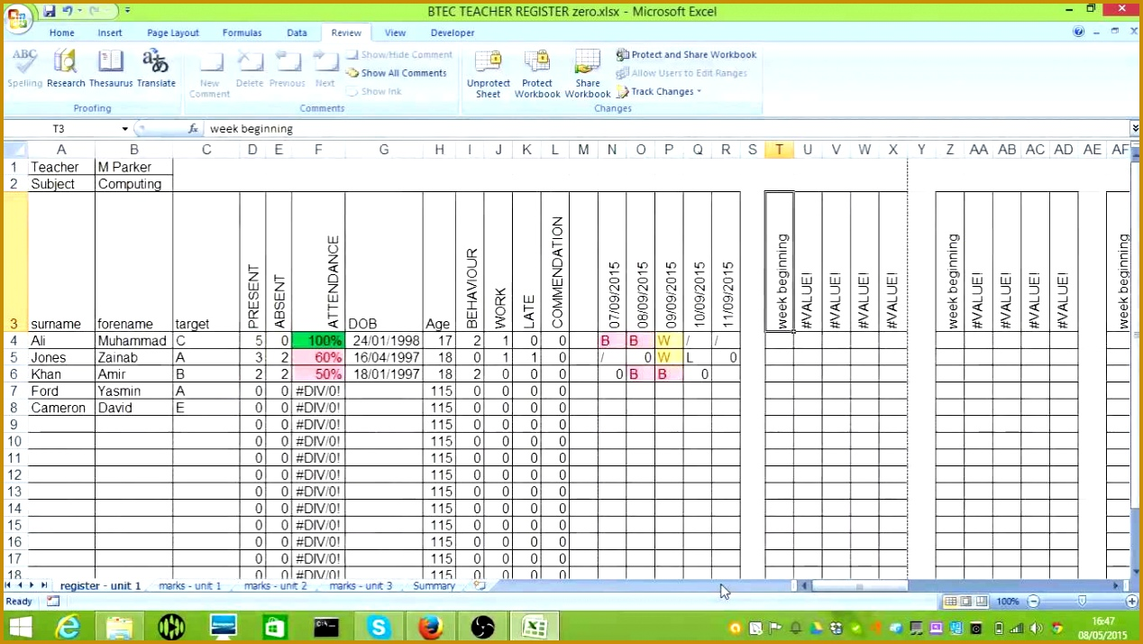 BTEC Tracking Spreadsheet 7141268