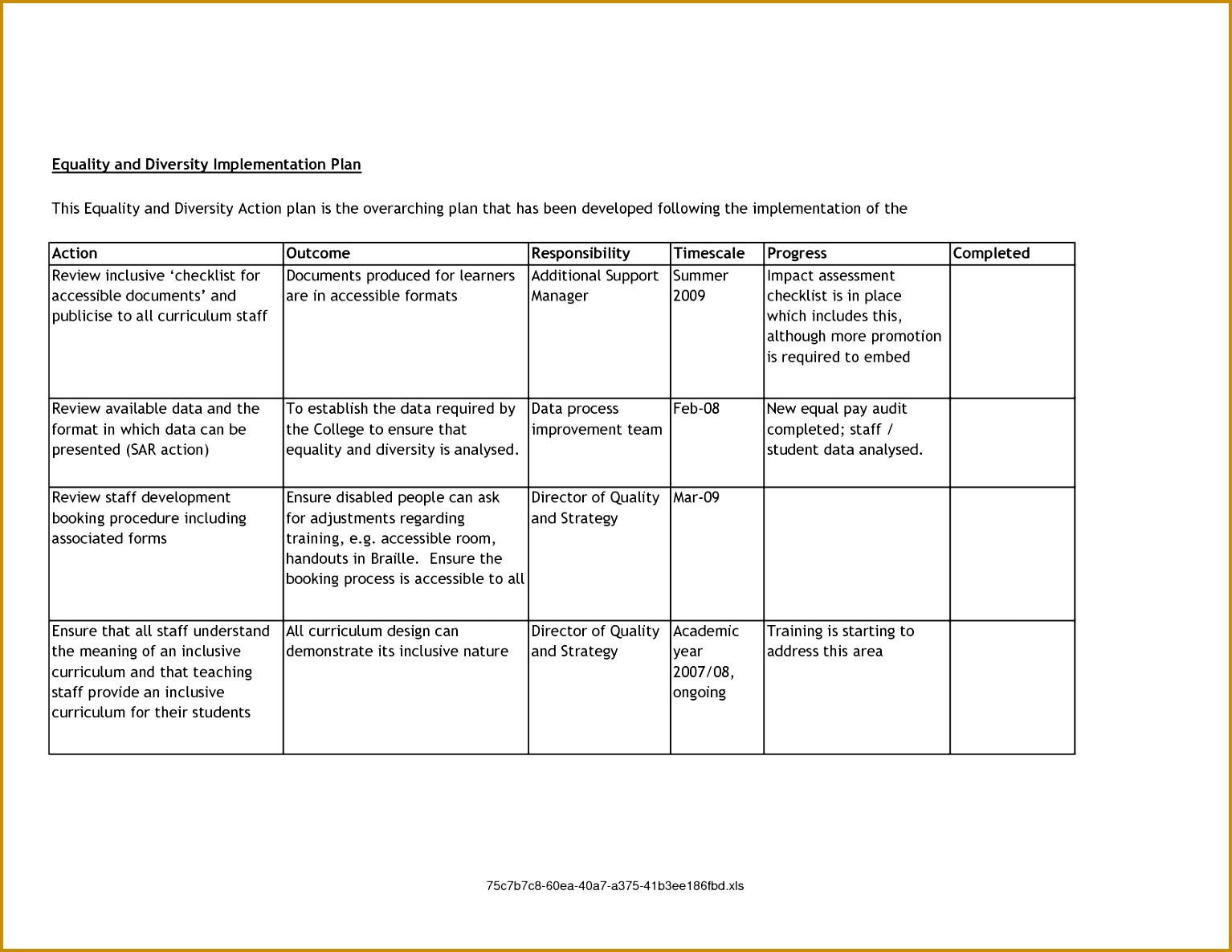 6 Training Action Plan Example | FabTemplatez