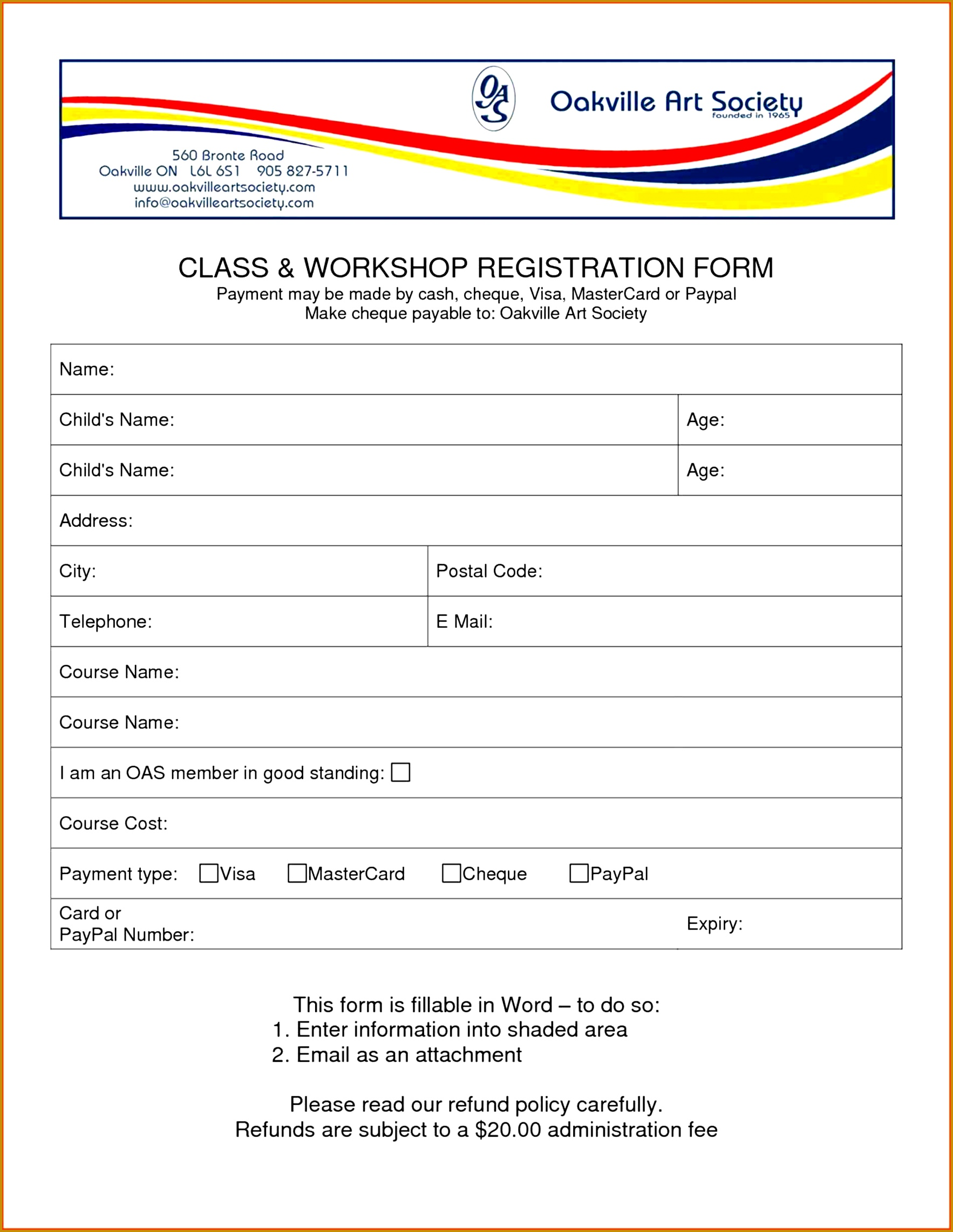 7 Training Course Registration Form Template   FabTemplatez .  Enrolment Form Template