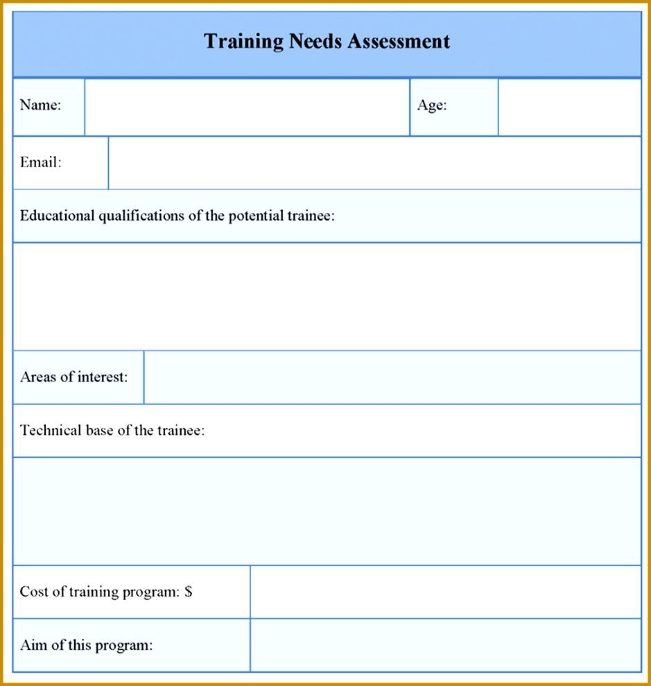 Needs Assessment Template Training Needs Assessment Template 939989