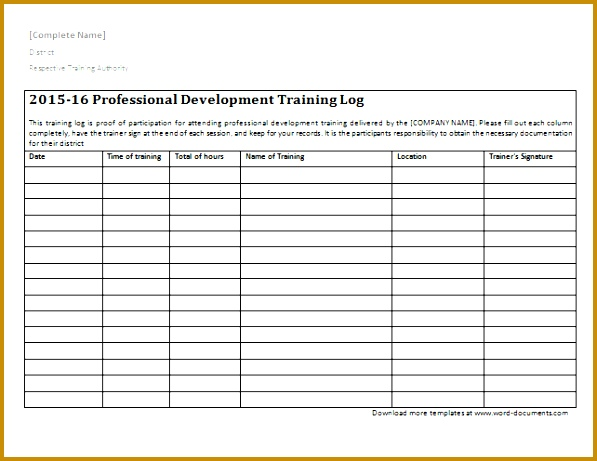 training log template 461597