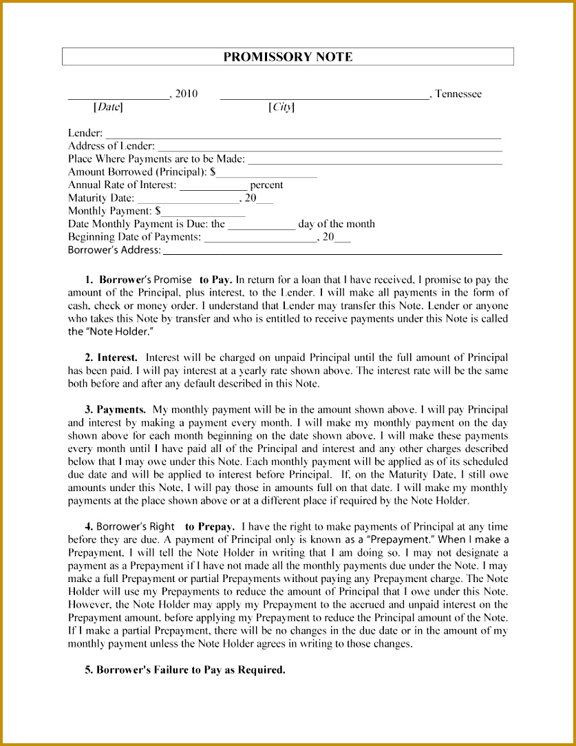 Printable promissory note template 27 8371083