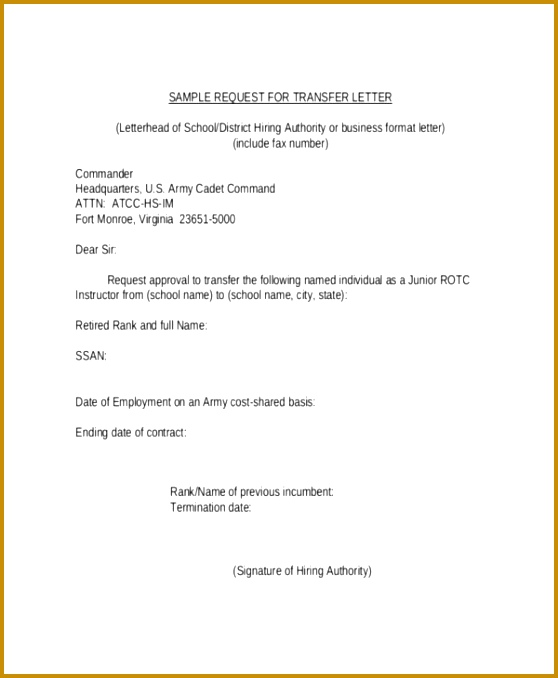 pany Transfer Request Letter Template 678558