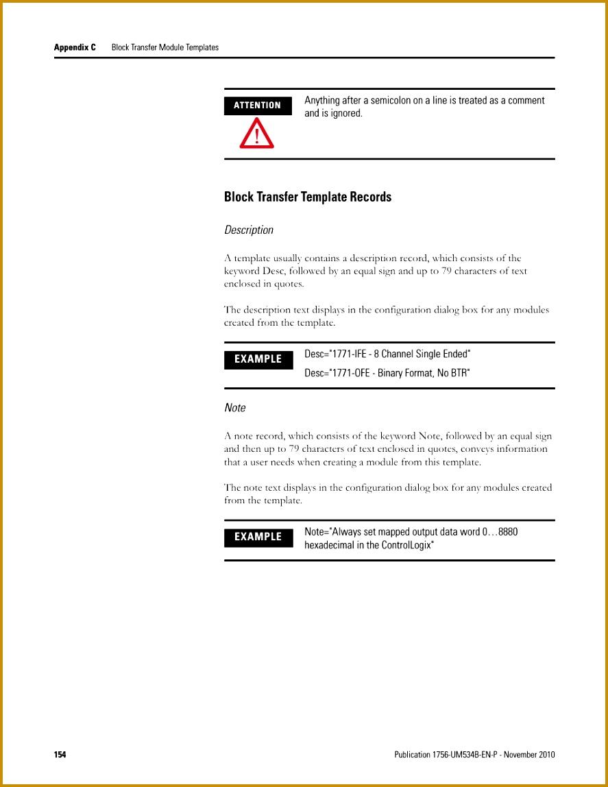 Block transfer template records Rockwell Automation 1756 RIO ControlLogix Remote I O munication Interface Module User Manual User Manual 1148887