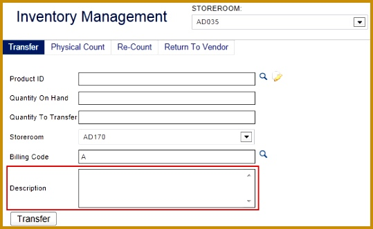 Transfer Button ce you have appropriately filled out the transfer form click the Transfer button to finalize the transfer of the inventory item 332539