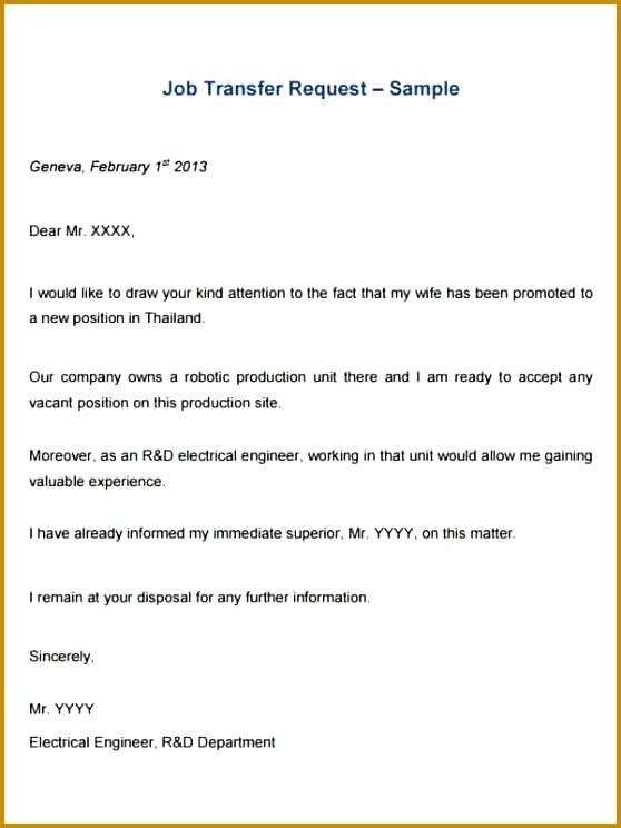 Job Transfer Request Letter Template – Sample PDF 558744