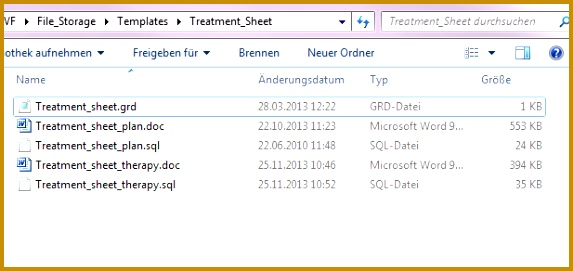 You can see the default treatment sheets plan and therapy and the grid file If you will change something in the word template you can do it here 271573
