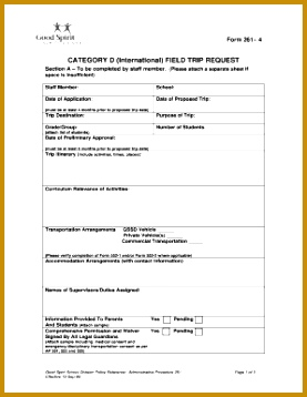 Form 261 4doc Form 261 4 category d international field trip request section a to be pleted by staff member please attach a separate sheet if space 358277