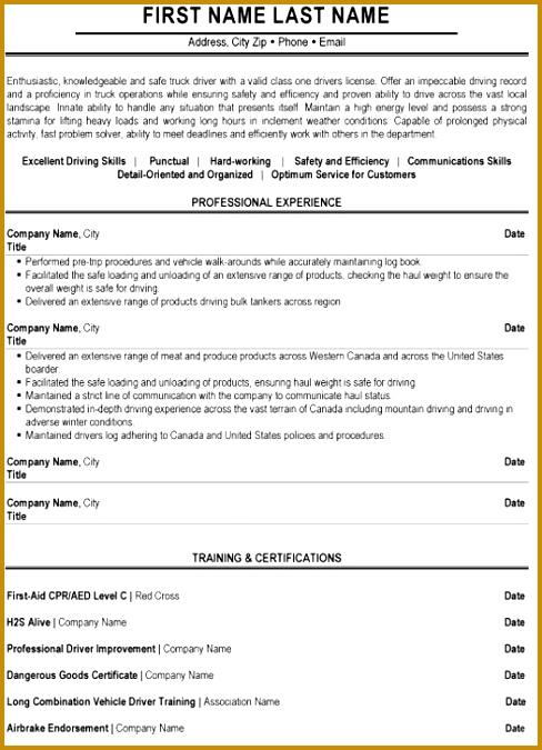 Truck Driver Resume Sample & Template 488675