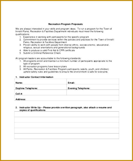 Sample Program Proposal Template 558678