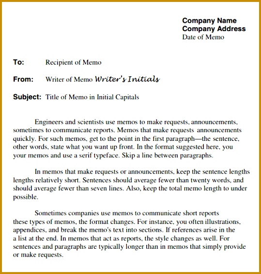 pany Memo Letter Template 564539