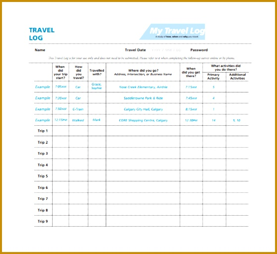 4 Vacation Log Template