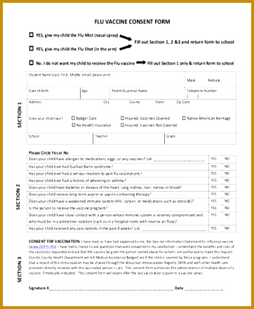 Flu Vaccine Consent Form template 362440