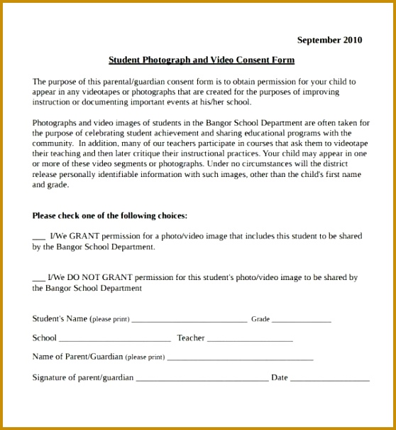 Vaccine Consent Form Template Sample Video Consent Form 9 Free 605558