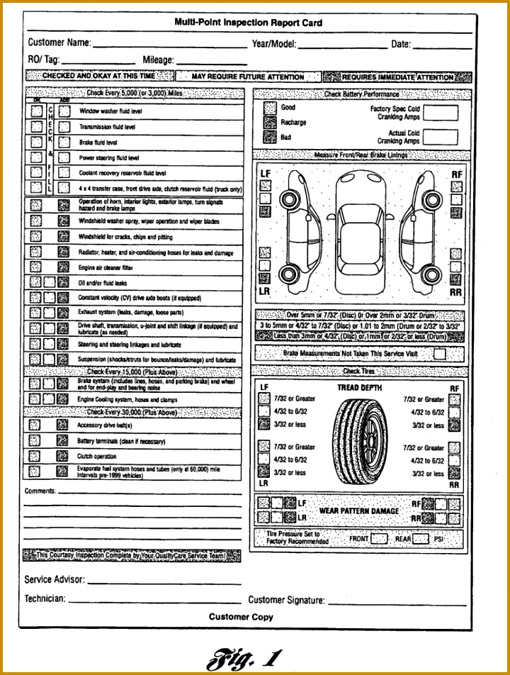 Vehicle Inspection Sheet Template 952720