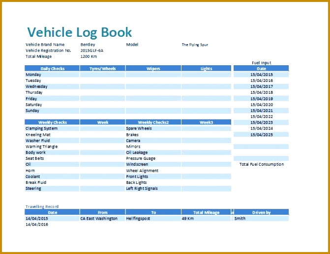 MS Excel Vehicle Log Book Template 518671