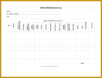 Auto Maintenance Log Business Form Template 338261