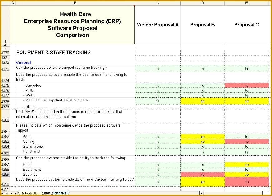 sample of vendors answers side by side to pare in the matrix 872630