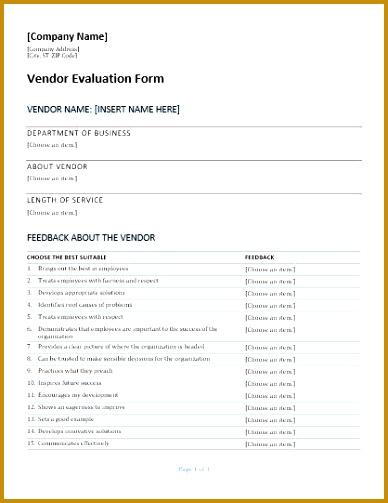 Vendor Evaluation Form 2 503388