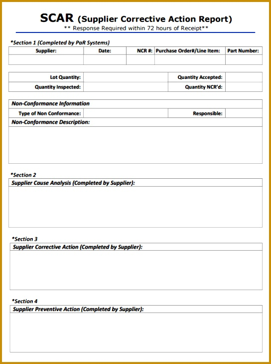 Supplier Corrective Action Report Template 729544