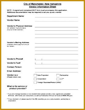 Vendor Information Sheet 2002 manchesternhgov 358277