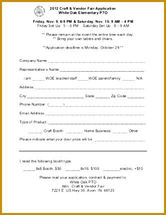 Craft Fair Vendor Application Form Template 429332