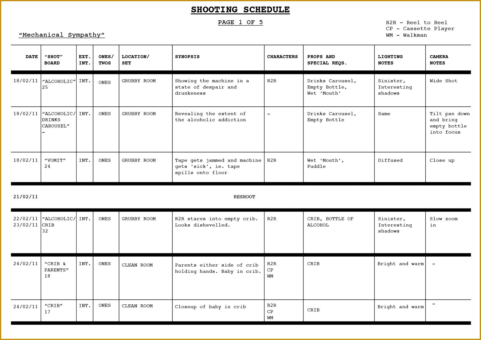 Schedule Template Eliolera 11531631