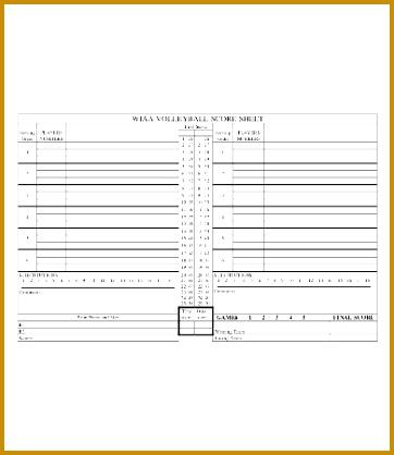 Volleyball Score Sheet Template 418362