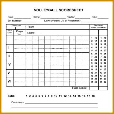 Grozgig Volleyball Score Sheet Vorlage Bilder
