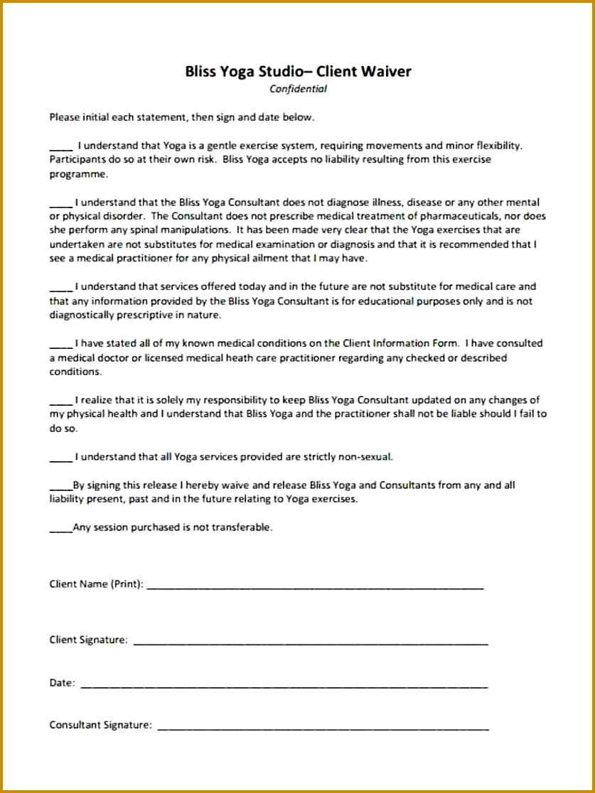 Liability Waiver Form Fiveoutsiderscom