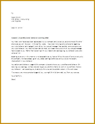 Unprofessional Behavior Warning Letter 494382