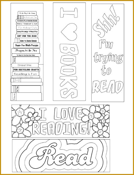 Printable Coloring Bookmark Template Free PDF Download 708544