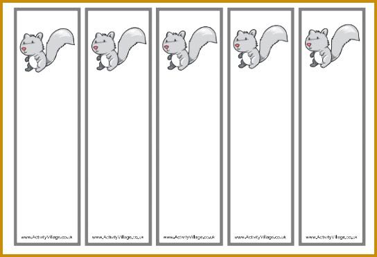 Free Squirrel Bookmark Templates PDF Format Download 371544
