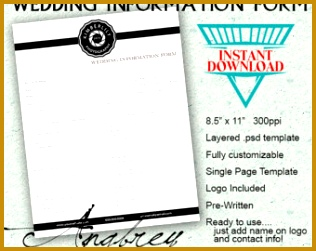 Wedding Information Form for graphers shop Template Instant Download 251316