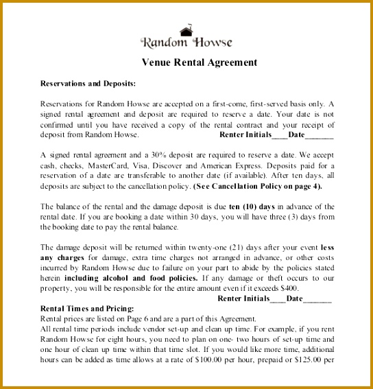 Wedding Venue Contract Template Free Download 567544