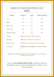 makeup and hair price list 309219