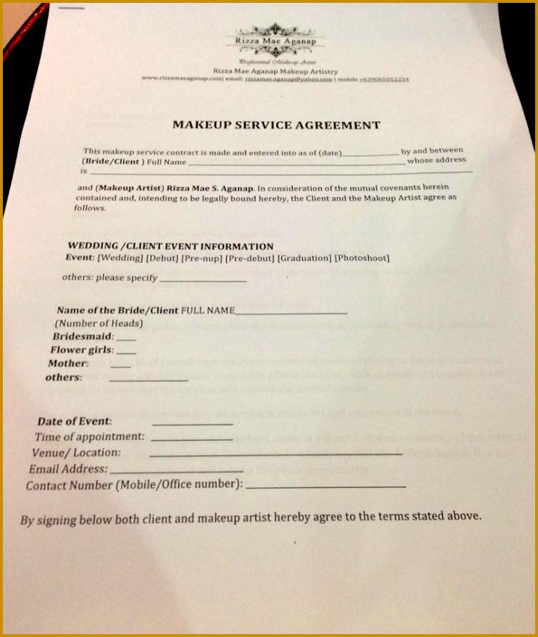 Makeup Service Agreement Form 754892