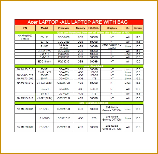 price sheet template excel