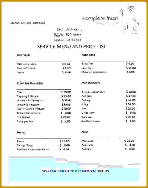 Price List Template Service Wholesale Price List Template 474600