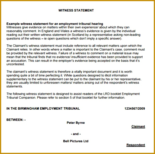 example witness statement 539535