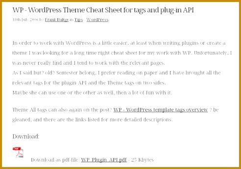 5 Wordpress Template Tags Cheat Sheet Pdf | FabTemplatez