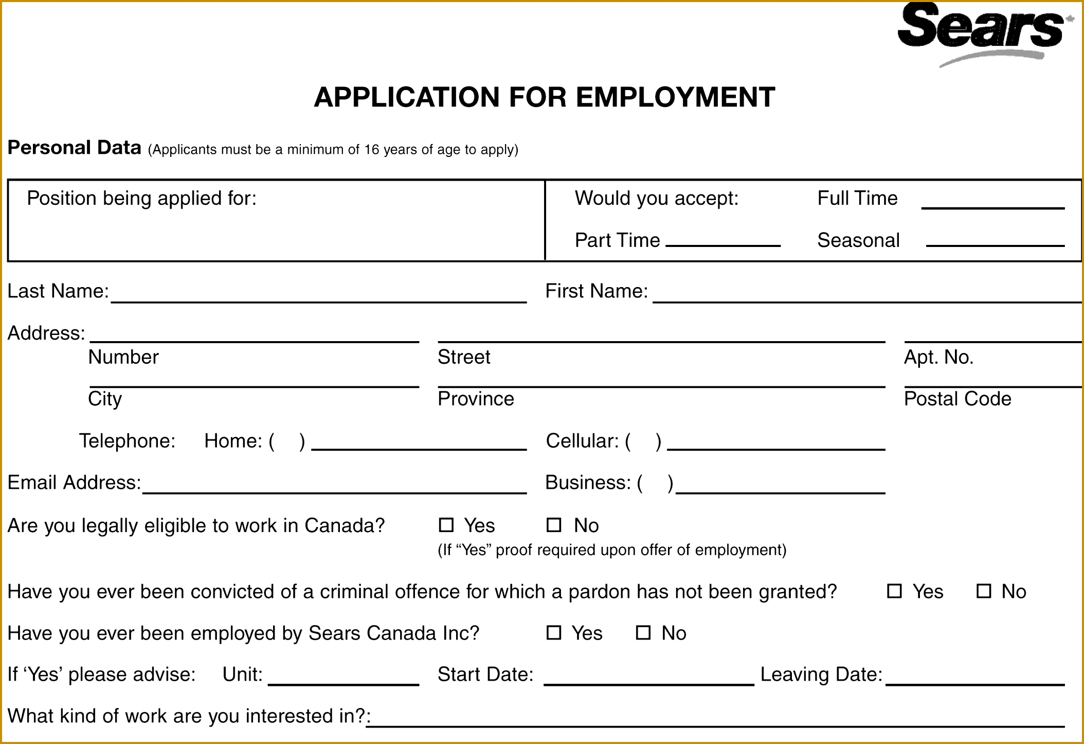 Business Application Form Template Printable Job Application Sears Job Application Printable Job Employment Forms Throughout Business 14462108