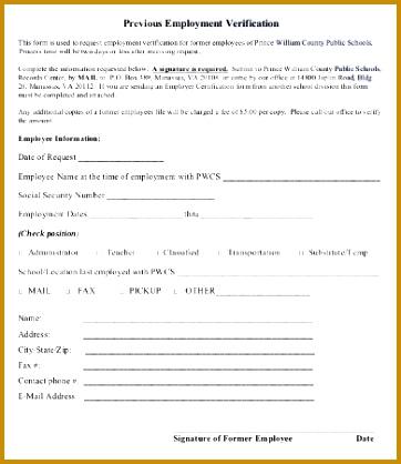 Previous Employment Verification Form 362418