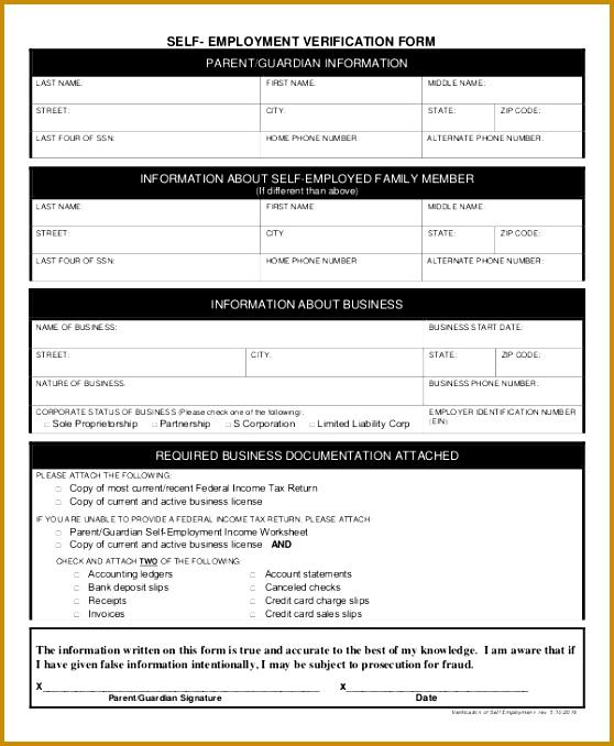 Self Employment Verification Form Sample 678558