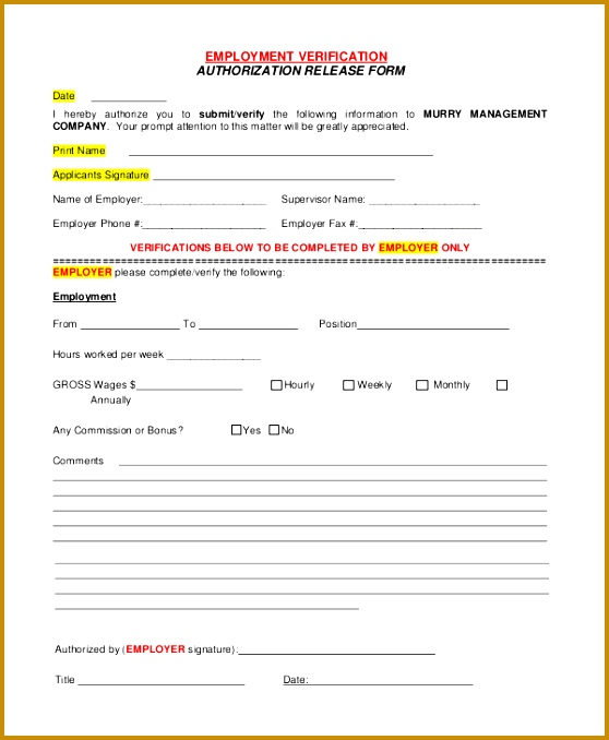 employment verification authorization release form 678558