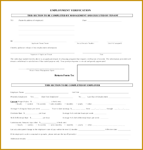 employment verification form 585558