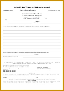 Printable Sample Construction Contract Template Form 308219