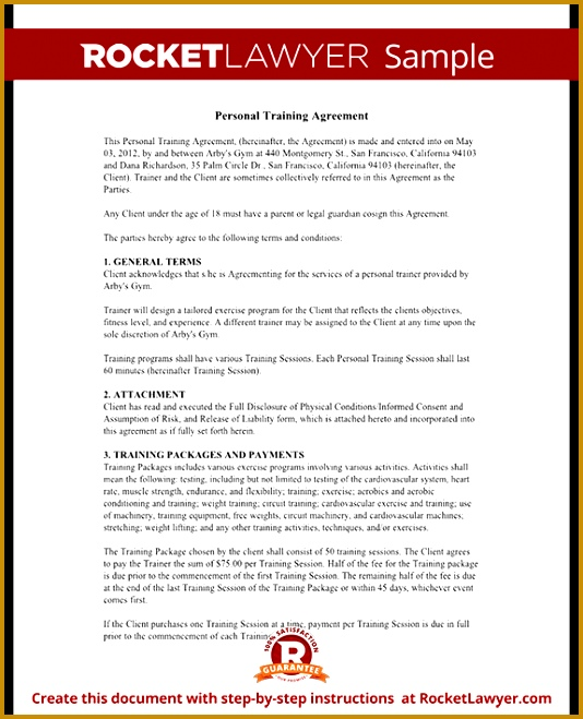 Sample Personal Training Agreement Form Template Test 534659