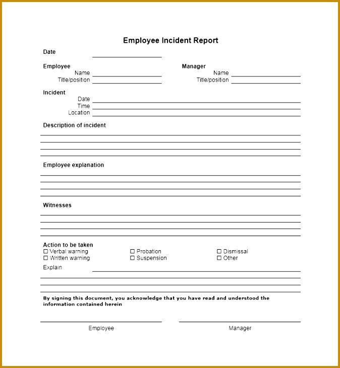 60 Incident Report Template [employee Police Generic 674731